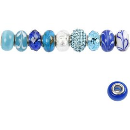 Schmuck Gestalten / Jewellery art Glass Beads Harmony, D: 13-15 mm, blue tones, ranked 10