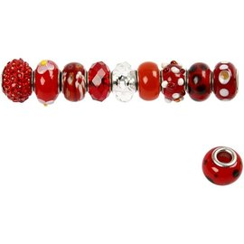 Schmuck Gestalten / Jewellery art Perles de verre harmonie, D: 13-15 mm, rouges, triés 10