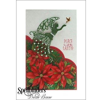 Spellbinders und Rayher Stempling og prægning stencil, engel med fugl