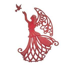 Spellbinders und Rayher Estampación y embutición de la plantilla, ángel con el pájaro