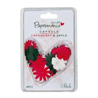 Embellishments / Verzierungen 30 bloemen, groen, rood en wit