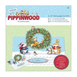 KARTEN und Zubehör / Cards Bastelset: Paquete de tarjetas, la textura de lino - Pippi Madera Navidad