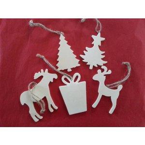 Objekten zum Dekorieren / objects for decorating 5 different Christmas motifs made of wood