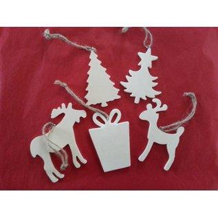 Objekten zum Dekorieren / objects for decorating 5 verschillende thema's van Kerstmis uit hout