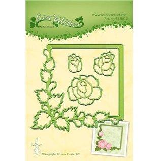 Leane Creatief - Lea'bilities und By Lene Stempelen en embossing stencil, frame met rozen