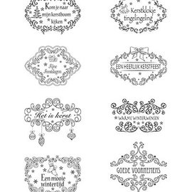 Marianne Design Transparente Stempel, Weihnachtsmotive Labels mit NL Texte