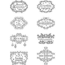 Marianne Design Clear Stamps, julemotiv etiketter NL tekster