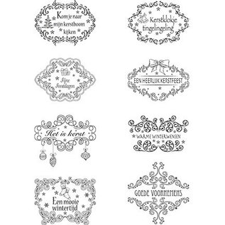Marianne Design Timbri trasparenti, motivi natalizi Etichette testi NL