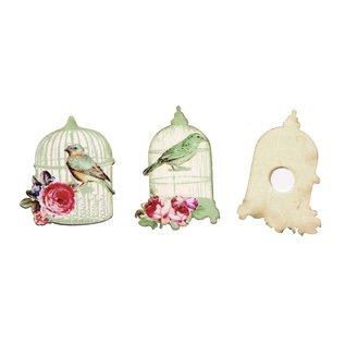 Embellishments / Verzierungen Verzierung, Vogelkäfig 4,5-5cm, aus Holz