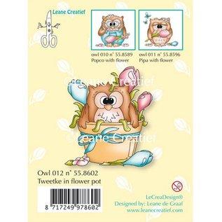 Leane Creatief - Lea'bilities und By Lene Transparent stamps, little owl Tweetke in flower pot