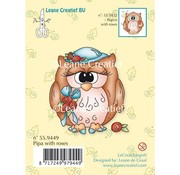 Leane Creatief - Lea'bilities und By Lene Transparent stamps, owl Pipa with roses