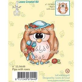 Leane Creatief - Lea'bilities und By Lene Sellos transparentes, Pipa búho con rosas