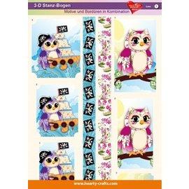 Bilder, 3D Bilder und ausgestanzte Teile usw... Fogli Die cut 3d, disegni e bordi in combinazione, gufi
