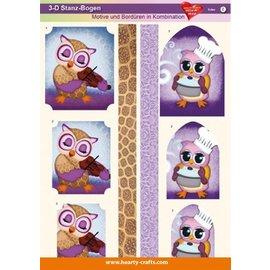 Bilder, 3D Bilder und ausgestanzte Teile usw... 3D Die cut sheets, designs and borders in combination, owls