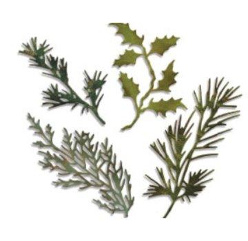 Sizzix Stampaggio e goffratura stencil, thinlits Sizzix, Set di 4 rami con foglie