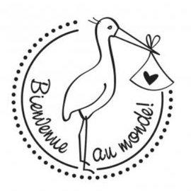 Stempel / Stamp: Holz / Wood Holzstempel, texte français, sujet: Baby