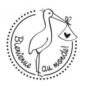 Stempel / Stamp: Holz / Wood Holzstempel, French text, topic: Baby