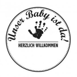 Stempel / Stamp: Holz / Wood Holzstempel, texte allemand, sujet: Baby