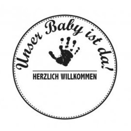 Stempel / Stamp: Holz / Wood Holzstempel, German text, topic: Baby