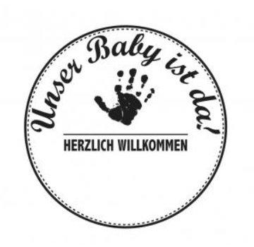Stempel / Stamp: Holz / Wood Holzstempel, Duitse tekst, onderwerp: Baby
