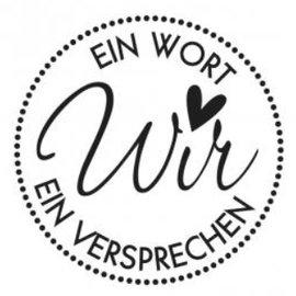 Stempel / Stamp: Holz / Wood Holzstempel, texto alemán, tema: boda