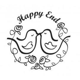 """Stempel / Stamp: Holz / Wood Houten stempel, tekst, 'Happy End! """""""
