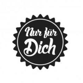 "Stempel / Stamp: Holz / Wood Holzstempel, texte allemand, ""juste pour vous!"""
