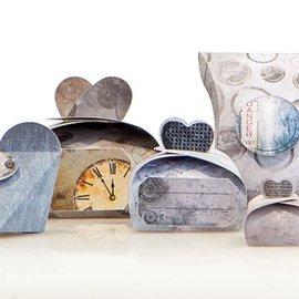 """Dekoration Schachtel Gestalten / Boxe ... Craft set for 14 packages """"Industrial"""" + Labels"""