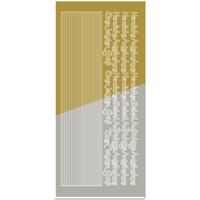 Stickers, combi Sticker, (edges, corners, texts) condolence, gold-gold