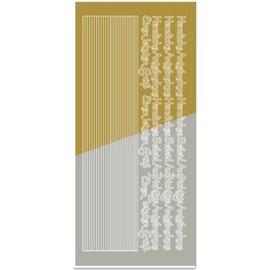 STICKER / AUTOCOLLANT Klistremerker, kombi klistremerke, (kanter, hjørner, tekster) kondolanse, gull-gull