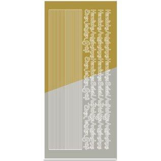 STICKER / AUTOCOLLANT Stickers, combi Sticker, (randen, hoeken, teksten) deelneming, goud-goud