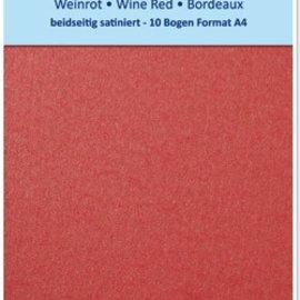 Karten und Scrapbooking Papier, Papier blöcke Satin carton de format A4, recto-verso 250gr de satin avec gaufrage. / M², Maroon
