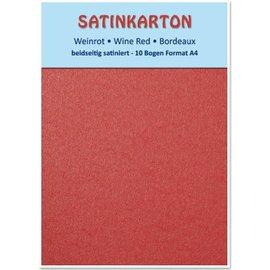 Karten und Scrapbooking Papier, Papier blöcke Satin karton A4, dubbelzijdig satijn 250gr met reliëf. / M², Maroon