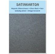 """Karten und Scrapbooking Papier, Papier blöcke Cartone raso A4, a doppia faccia 250gr raso con goffratura. / Mq, """"Majestic"""" nero argento"""