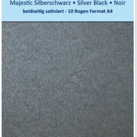 "Karten und Scrapbooking Papier, Papier blöcke Satin cardboard A4, double-sided satin 250gr with embossing. / Square meter, ""Majestic"" silver black"