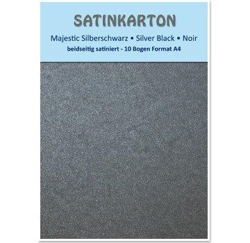"Karten und Scrapbooking Papier, Papier blöcke Satin karton A4, dubbelzijdig satijn 250gr met reliëf. / Vierkante meter, ""Majestic"" silver black"