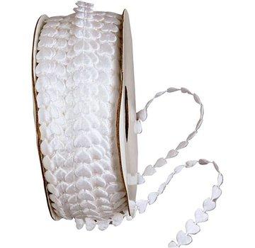 DEKOBAND / RIBBONS / RUBANS ... Satinlitze, B: 8 mm, blanc, coeur, par le compteur
