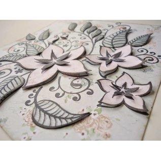 Transparante stempels, bloemen en bladeren