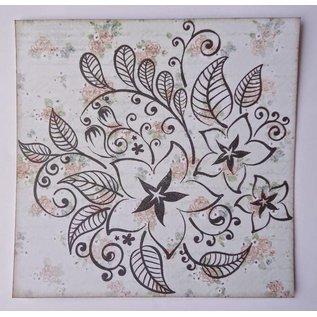 sellos transparentes, flores y hojas