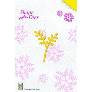Nellie Snellen Ponsen en embossing sjabloon, rozen tak