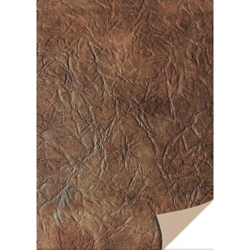 Karten und Scrapbooking Papier, Papier blöcke 5 feuilles cartonné cuir, brun foncé