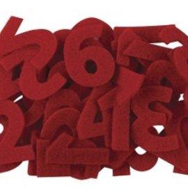 Embellishments / Verzierungen Zahlen von 1 bis 24 in Filz, rot