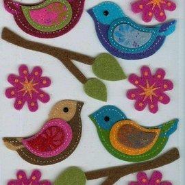 Sticker Filz 3D de la etiqueta engomada, pájaro, rama, y flores