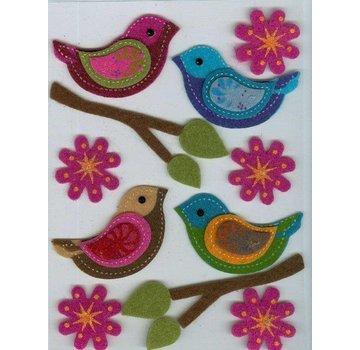 Sticker Filz 3D autoadesivo, uccello, ramo e fiori
