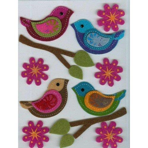 Sticker Filz 3D sticker, vogel, tak, en bloemen