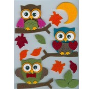 Sticker Filz 3D Sticker, owl on, branch and leaves and moon