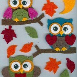 Sticker Filz engomada 3D, búho en, rama y hojas y la luna