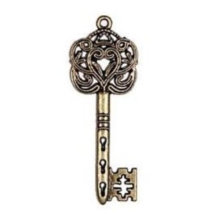Embellishments / Verzierungen 2 Metall Charms Set Big Imperial Schlüssel, 60x22 mm