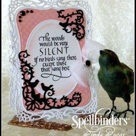 Spellbinders und Rayher Spellbinders, le poinçonnage et le gaufrage pochoir, stencil métallique D-Lites, oiseaux Scrolls