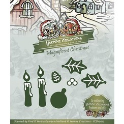 Stamping and Embossing stencil, Yvonne Creations, Magnificent Christmas, Candles Set